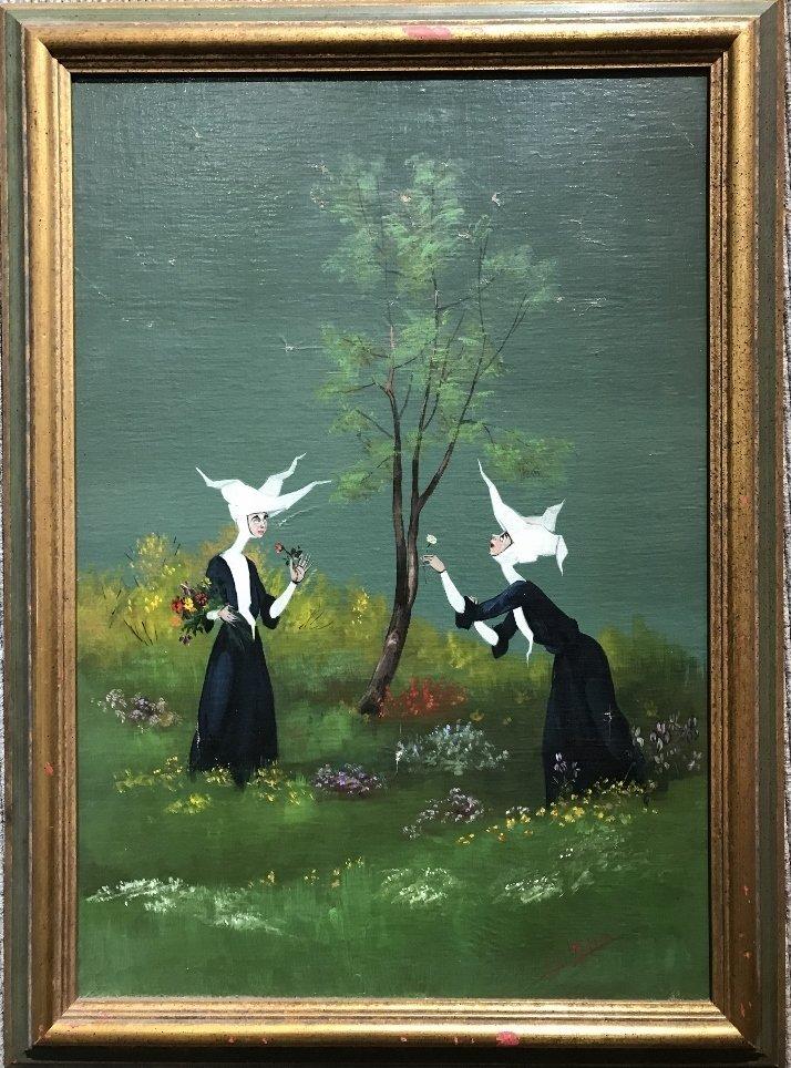 Nun painting by Mario D'Elia, c.1965