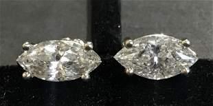 14k marquise diamond earrings, 1.3 dwts