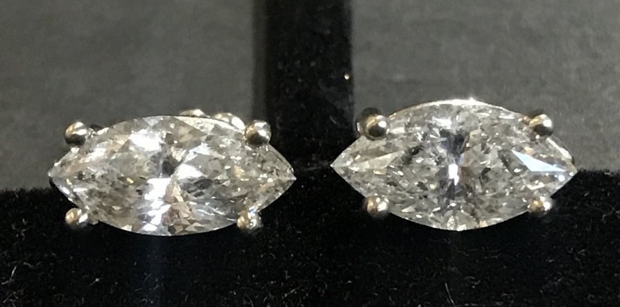 14k marquise diamond earrings, 1.3 dwts