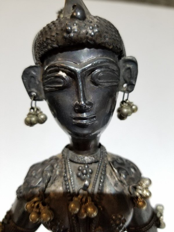 Indian silver figure of a musician, c.1900, 13.5 t.oz - 2