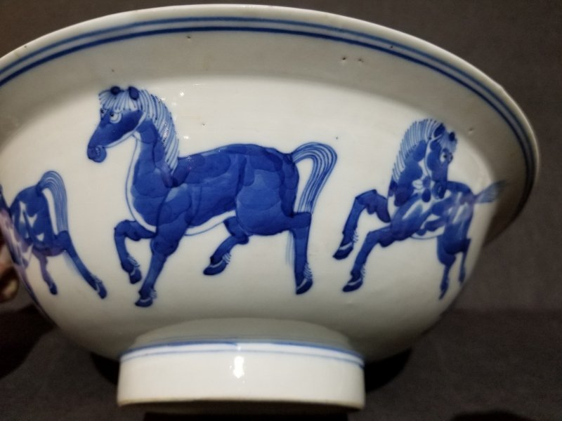 Chinese blue and white bowl with horses, c 1910 - 2