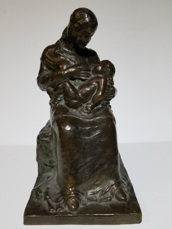 Mother and Child bronze by Karl Calwer