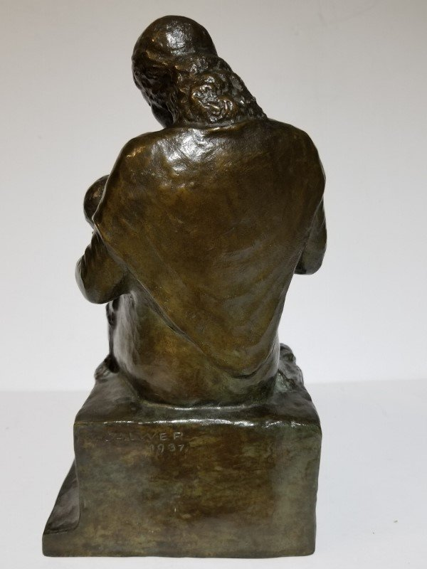 Mother and Child bronze by Karl Calwer - 2