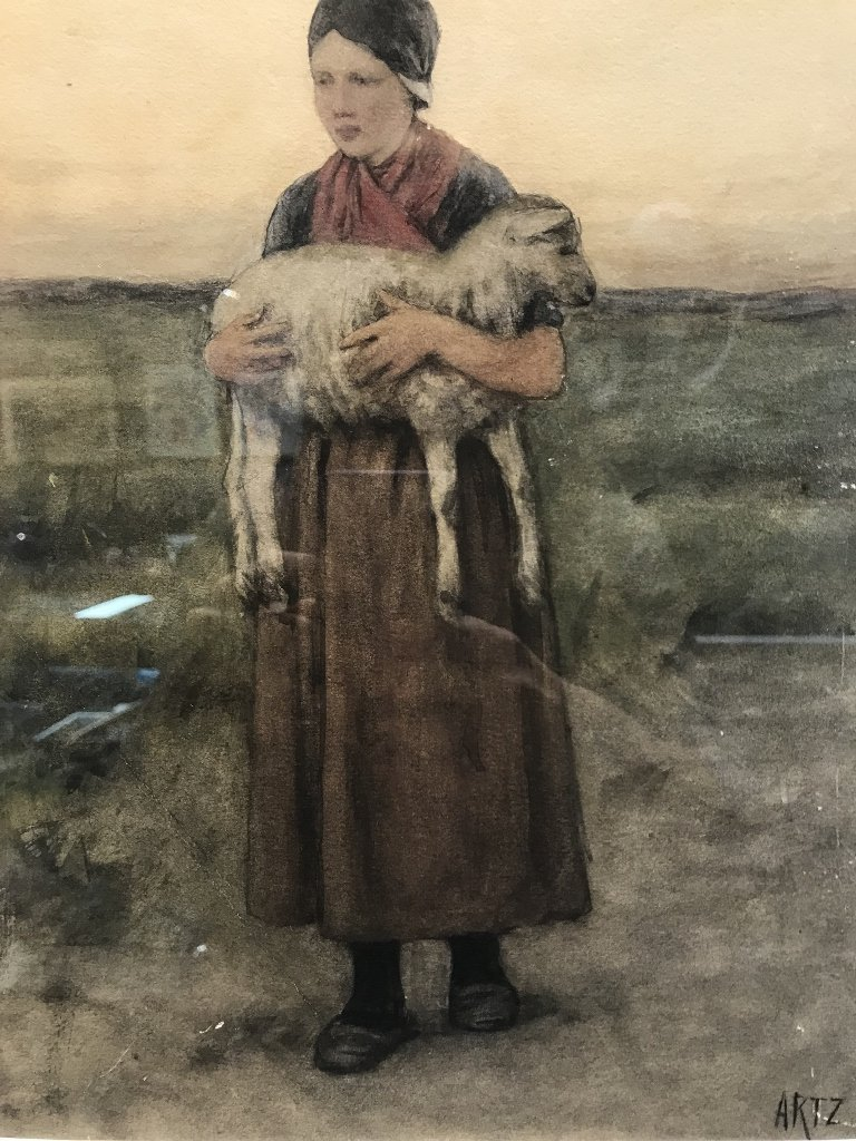 """Wounded lamb"" w.color  by David A.C.Artz.(Dutch 19th) - 2"