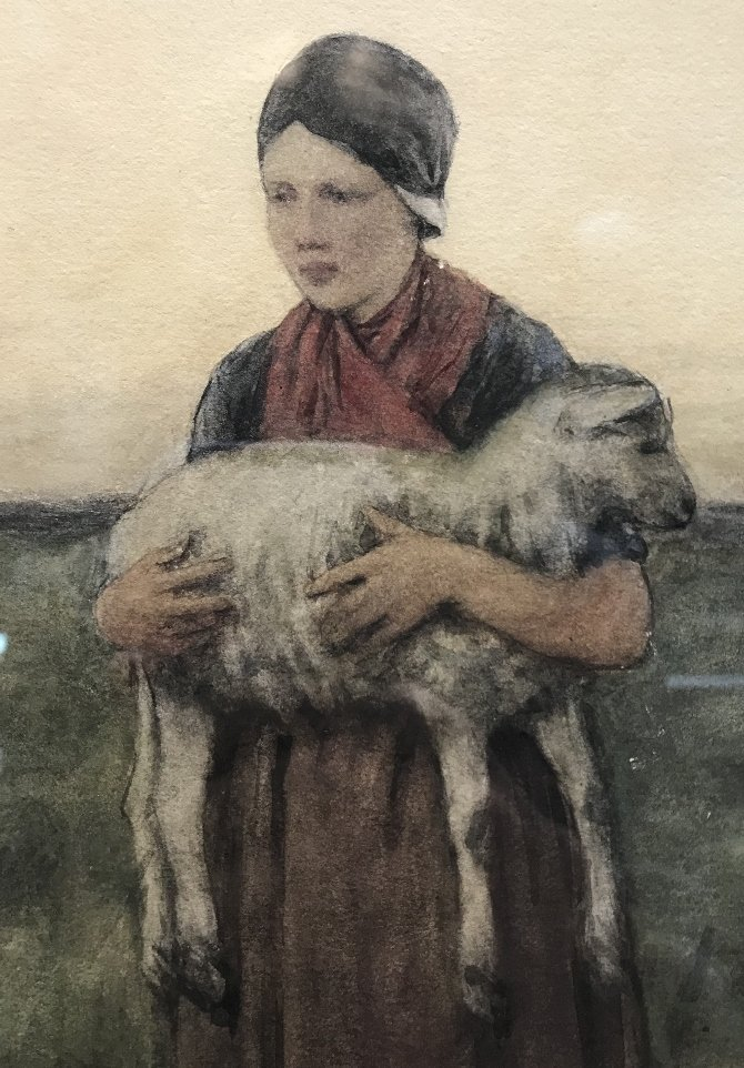 """Wounded lamb"" w.color  by David A.C.Artz.(Dutch 19th) - 3"