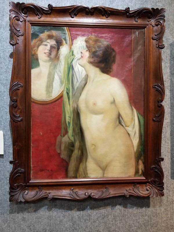 Nude before a mirror, by Richard Geiger(Austrian 19th)