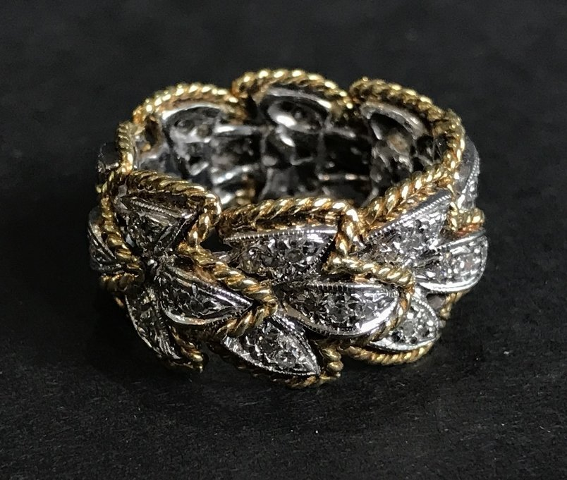 18k and diamond braided gold band, 6.7 dwts