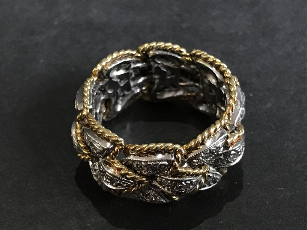 18k and diamond braided gold band, 6.7 dwts - 2