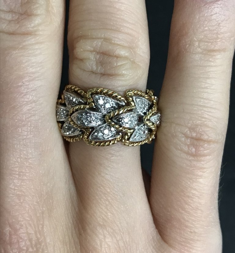 18k and diamond braided gold band, 6.7 dwts - 3