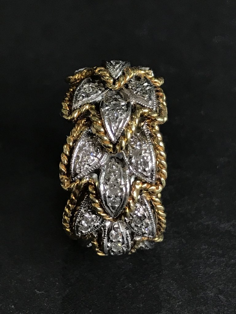 18k and diamond braided gold band, 6.7 dwts - 4