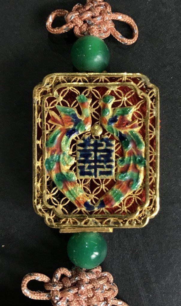 22k gold Chinese pendant with enamel, 11.6 dwts - 2