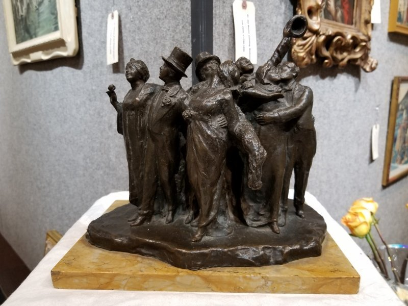 Bronze of party people by A.Cives. circa 1910