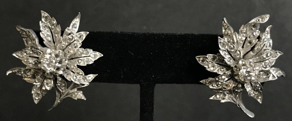 10k white gold & rose cut diamond flower earrings