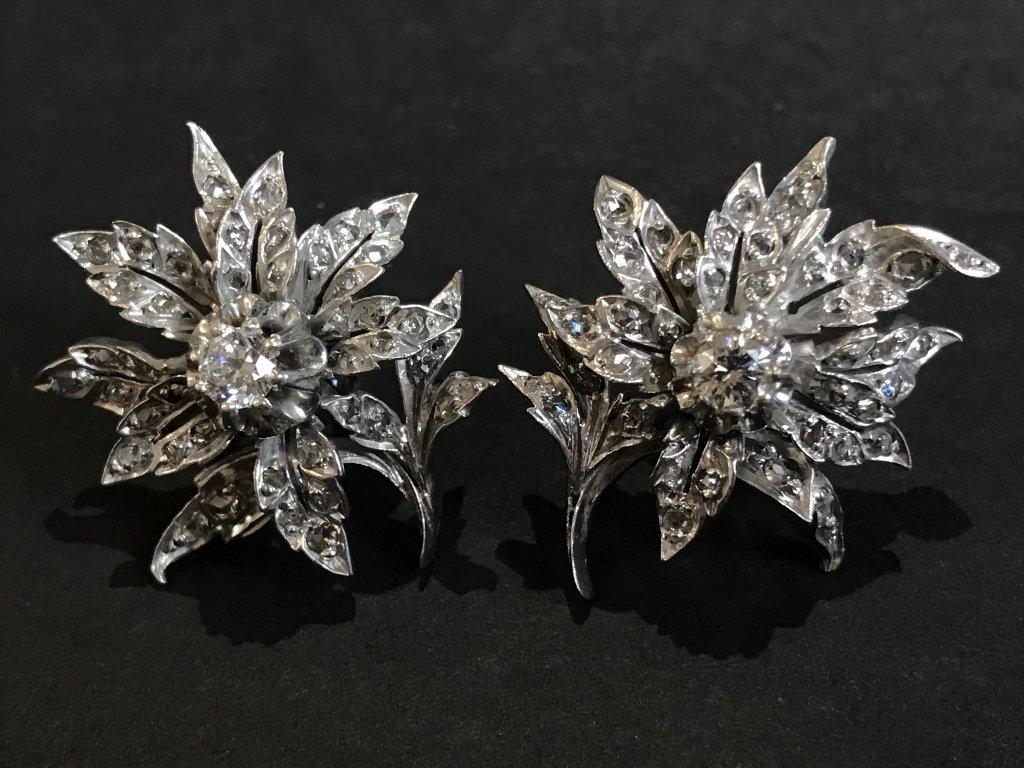 10k white gold & rose cut diamond flower earrings - 2