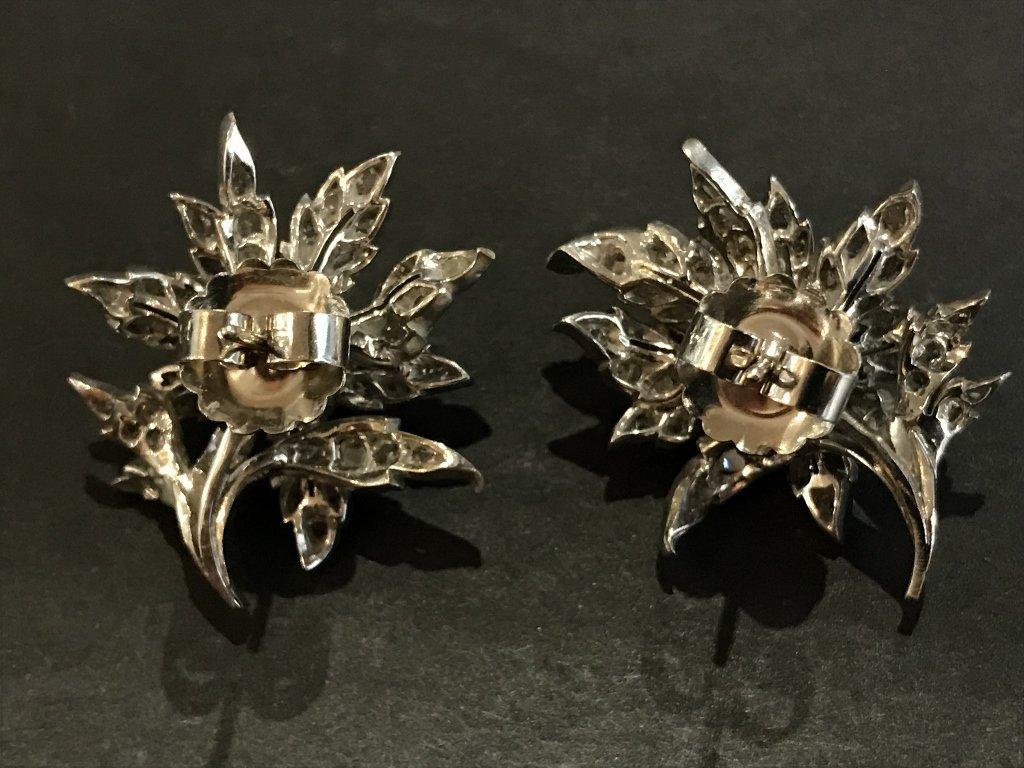 10k white gold & rose cut diamond flower earrings - 3