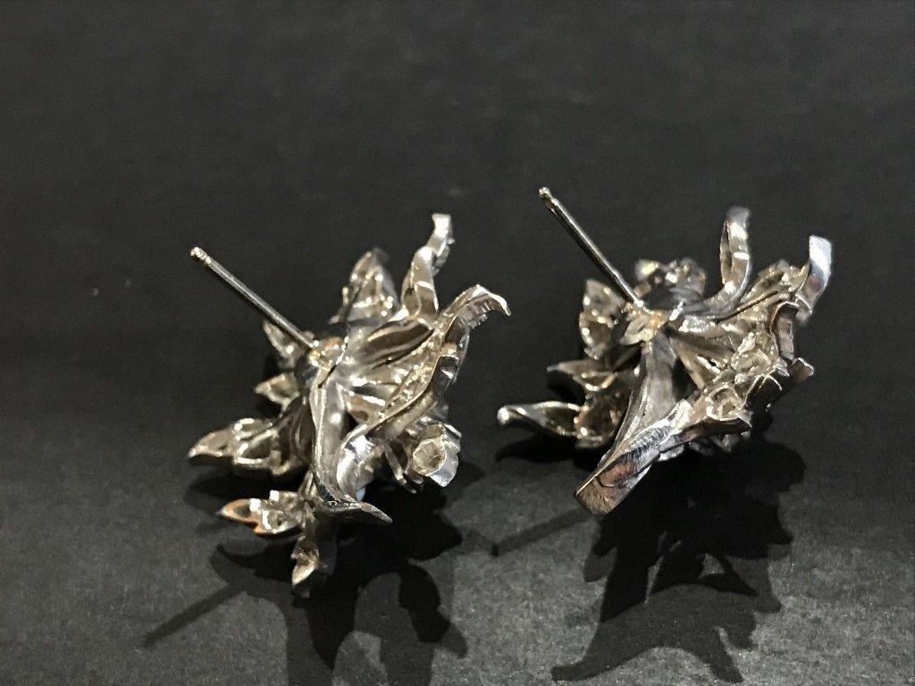 10k white gold & rose cut diamond flower earrings - 4