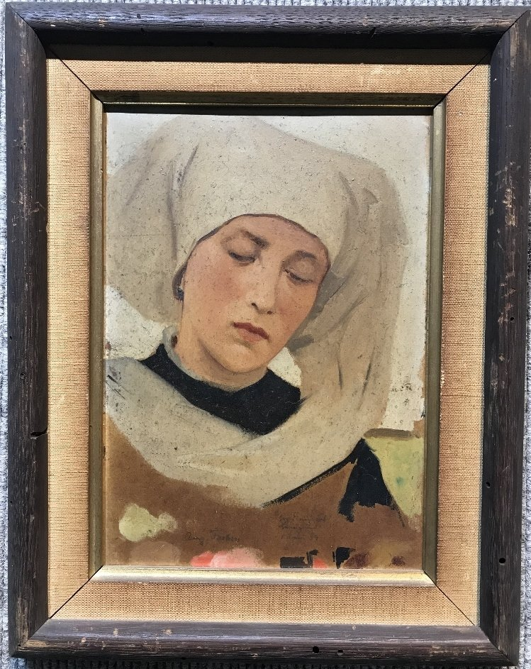 Painting of Dutch woman or nun by Theodor Poeckh
