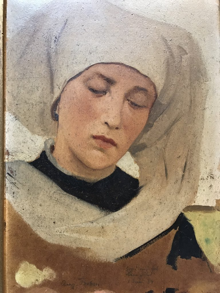 Painting of Dutch woman or nun by Theodor Poeckh - 2