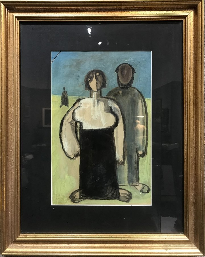 Gouache of two people attrib to Kazimir Malevich