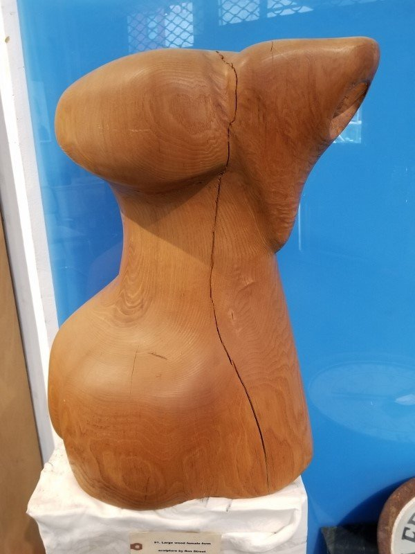 Large wood female form sculpture by Ron Street