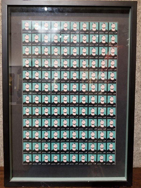 Framed Andy Warhol stamps, Hunt Fine Arts