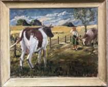 Painting of farm life, circa 1930, signature illegible