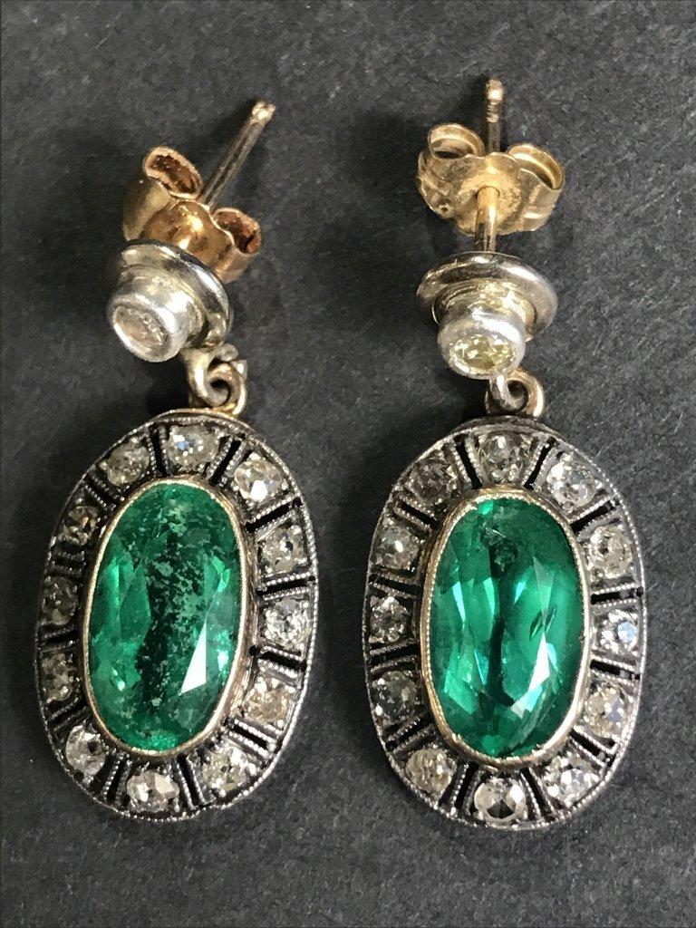 14k gold, synthetic emerald diamond earrings
