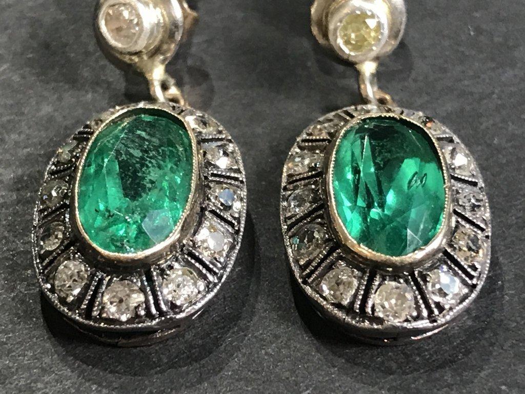 14k gold, synthetic emerald diamond earrings - 4
