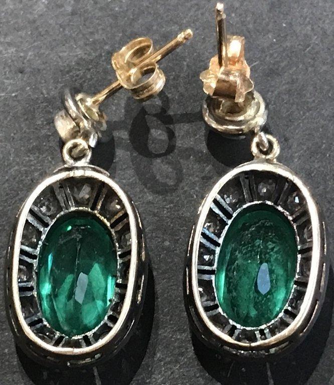14k gold, synthetic emerald diamond earrings - 5