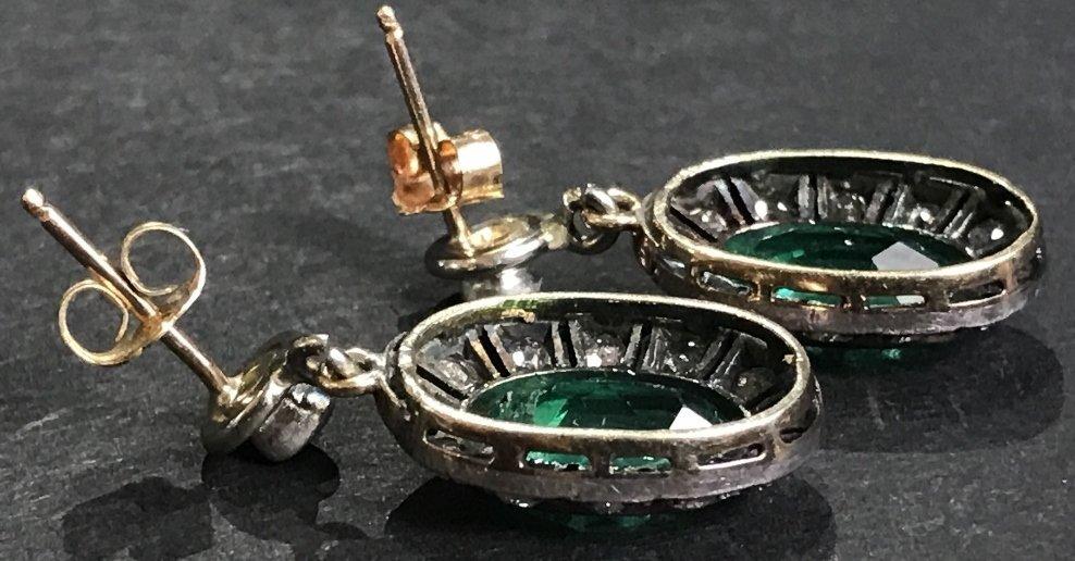 14k gold, synthetic emerald diamond earrings - 6