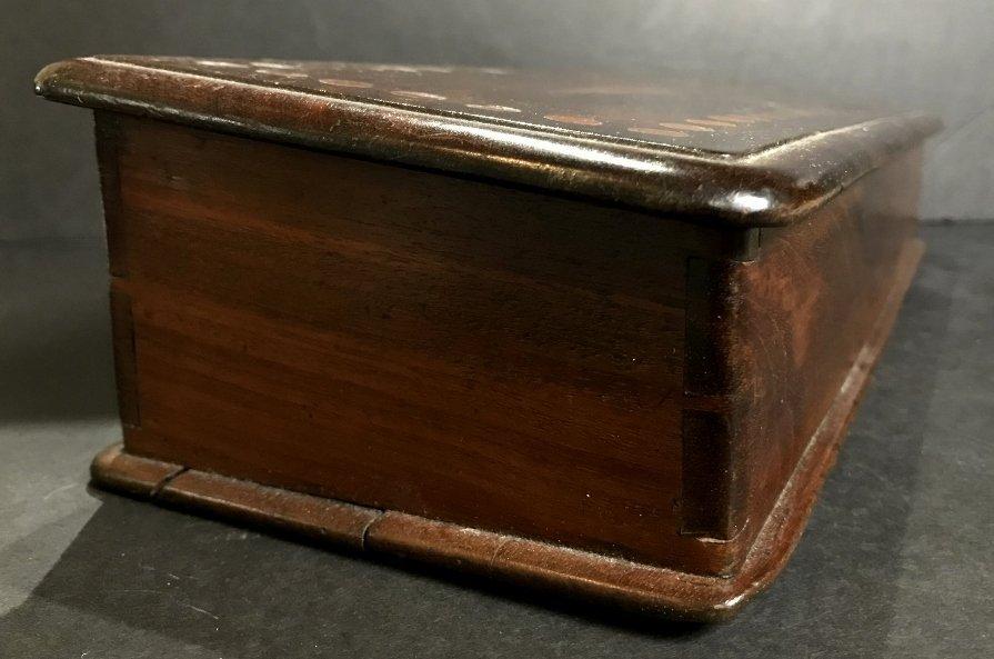 English wood money changing box, c.1900 - 2