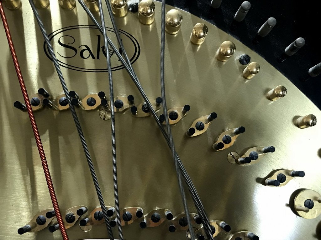 "Large black harp marked ""Salvi"" - 8"