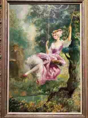 Large painting of girl on swing, Americo Makk(Hawaiian)