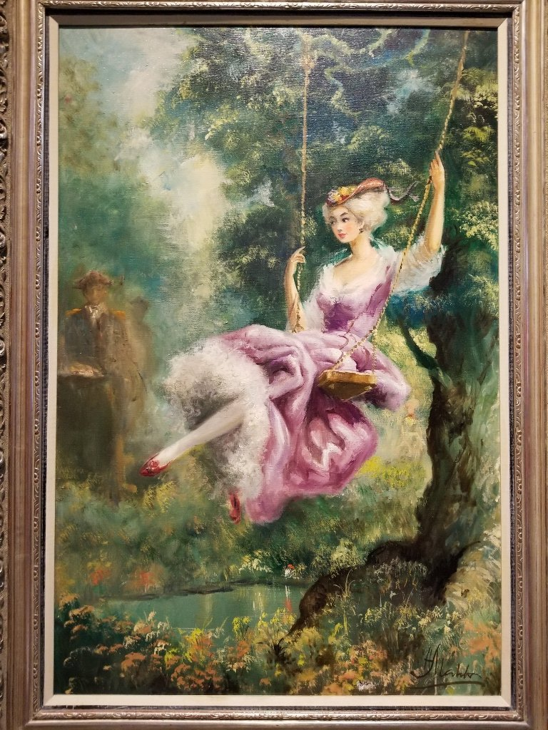 Large painting of girl on swing, Americo Makk(Hawaiian)