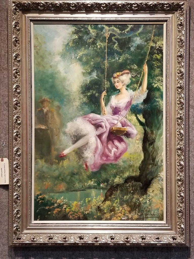 Large painting of girl on swing, Americo Makk(Hawaiian) - 2
