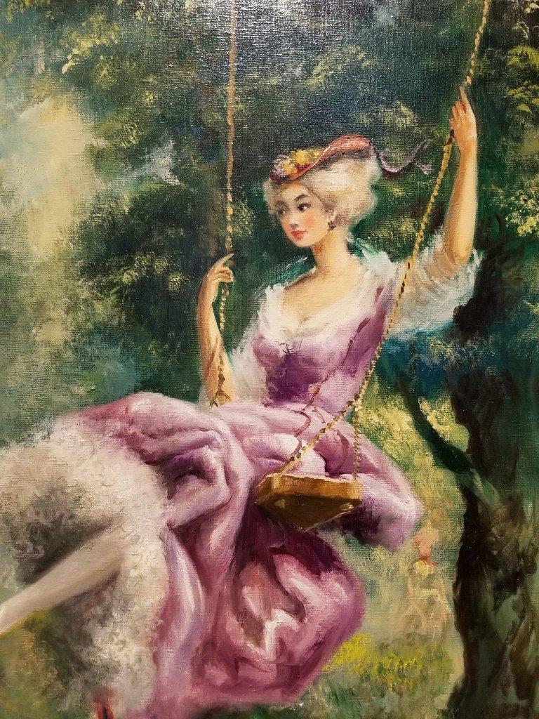Large painting of girl on swing, Americo Makk(Hawaiian) - 3