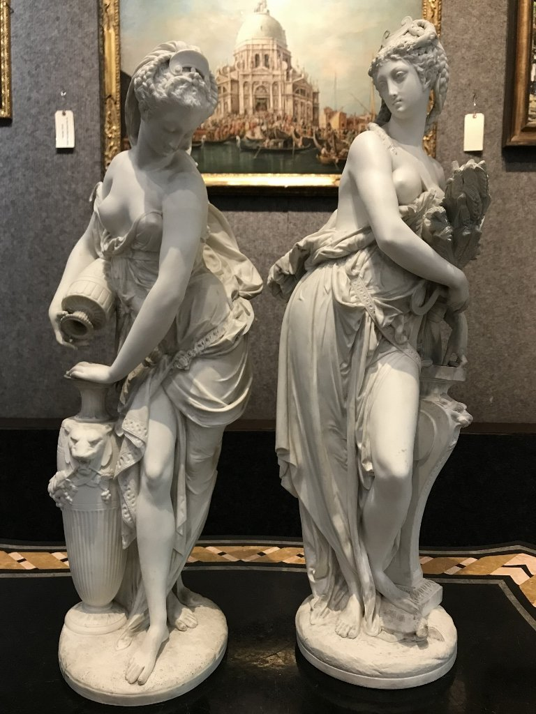 Pair of Blanc de Chine Minton classical figures, c.1900