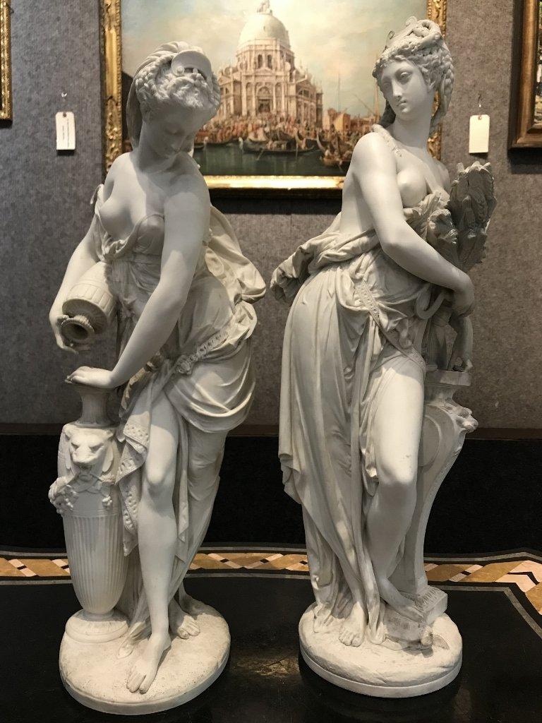 Pair of Blanc de Chine Minton classical figures, c.1900