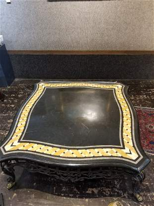 Pietra Dura bronze and cast iron low table, c.1970.