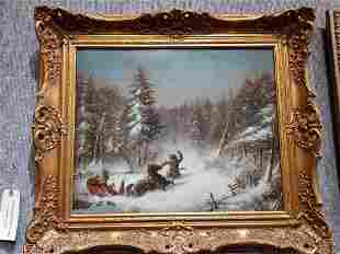 Painting of Russians in snow with sled, c.1900