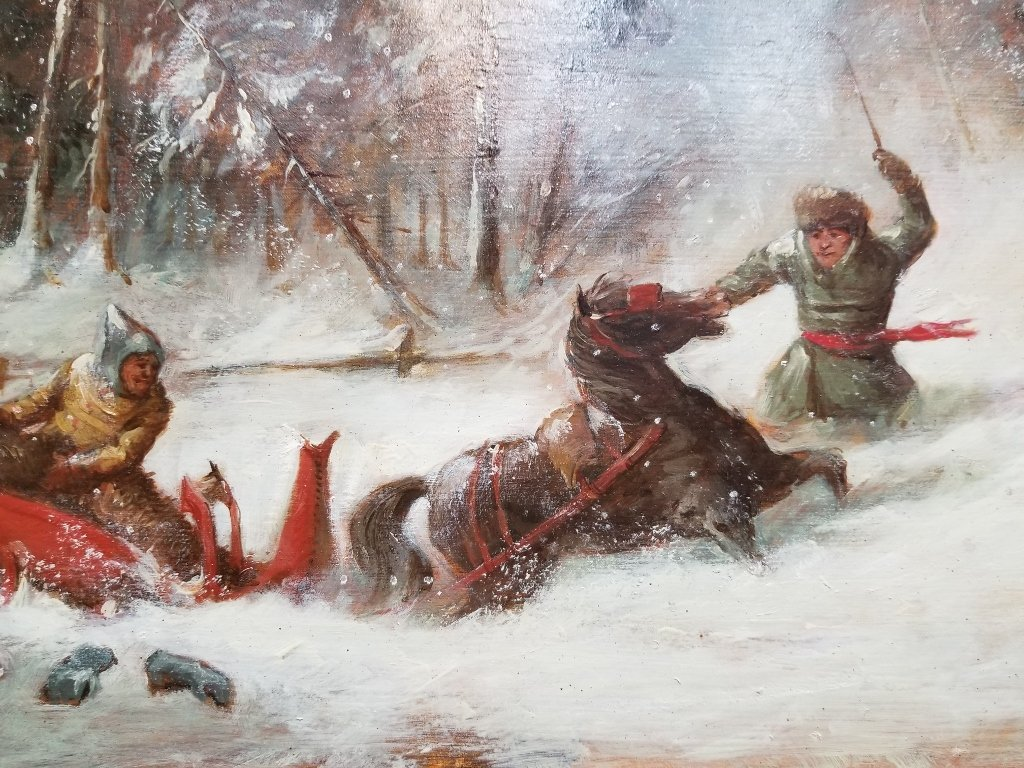 Painting of Russians in snow with sled, c.1900 - 2