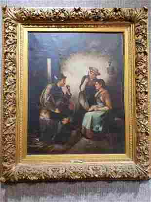 Large painting of three figures by L.Hardegg, c.1880