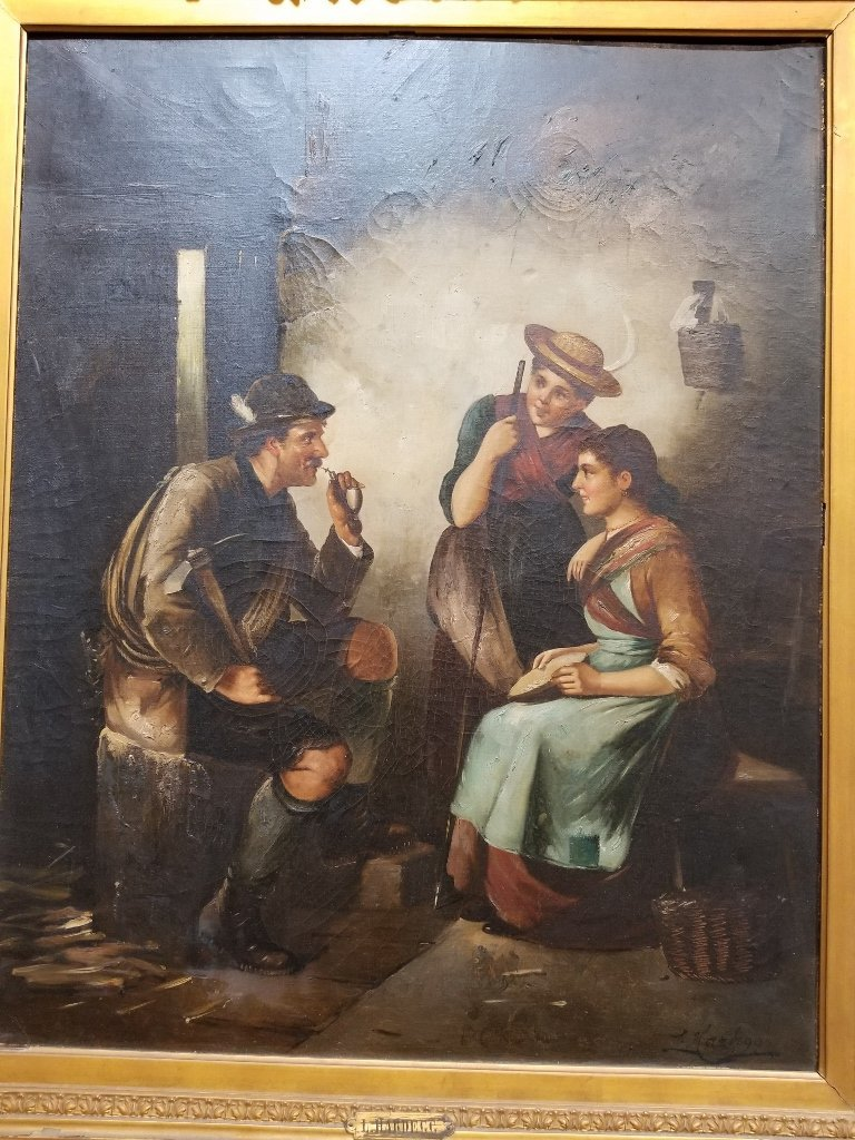 Large painting of three figures by L.Hardegg, c.1880 - 2
