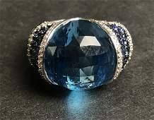18k sapphire topaz and diamond ring, 8.1 dwts