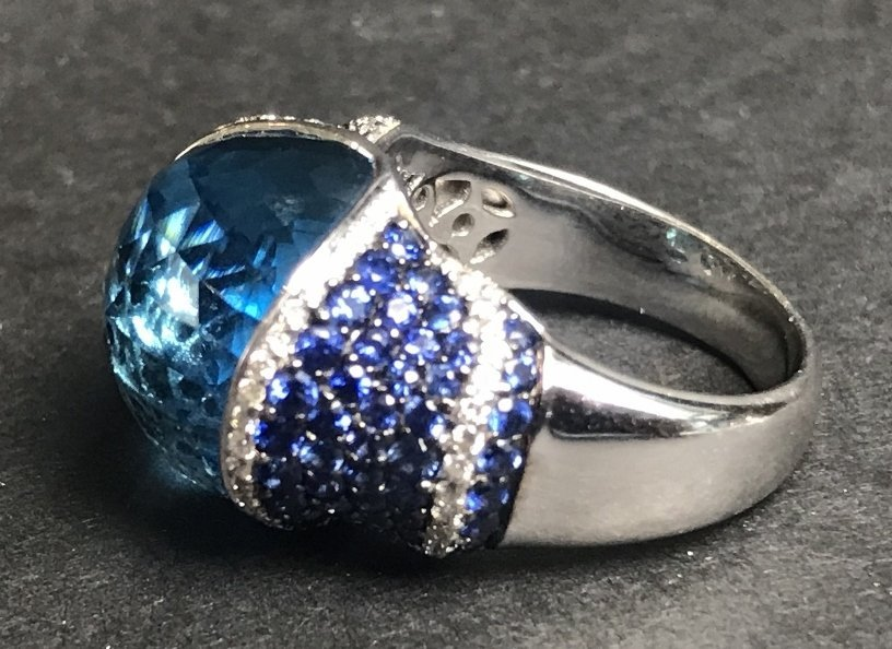18k sapphire topaz and diamond ring, 8.1 dwts - 3