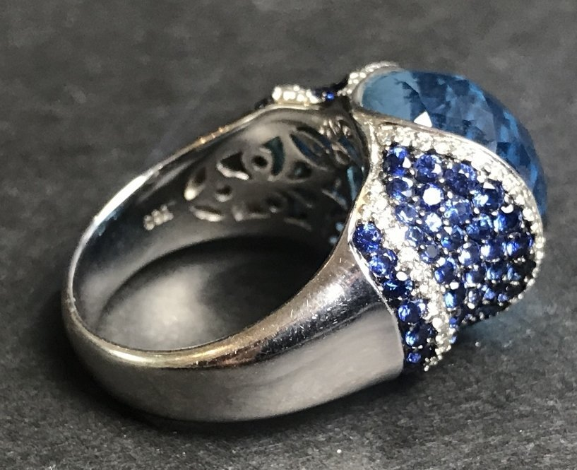 18k sapphire topaz and diamond ring, 8.1 dwts - 5