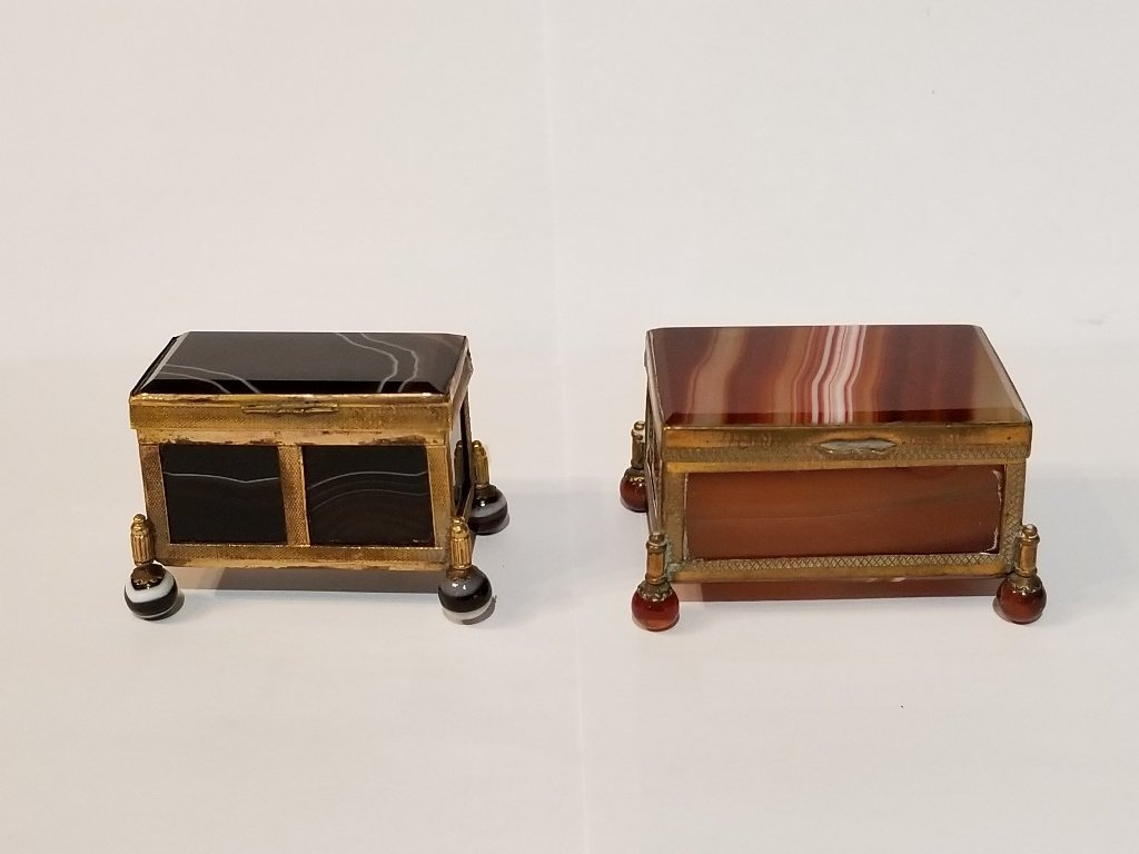 Two 19th cen agate boxes
