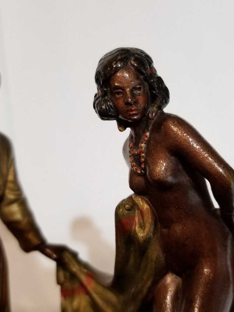 Vienna polychrome bronze, Arab and nude, c.1900 - 4