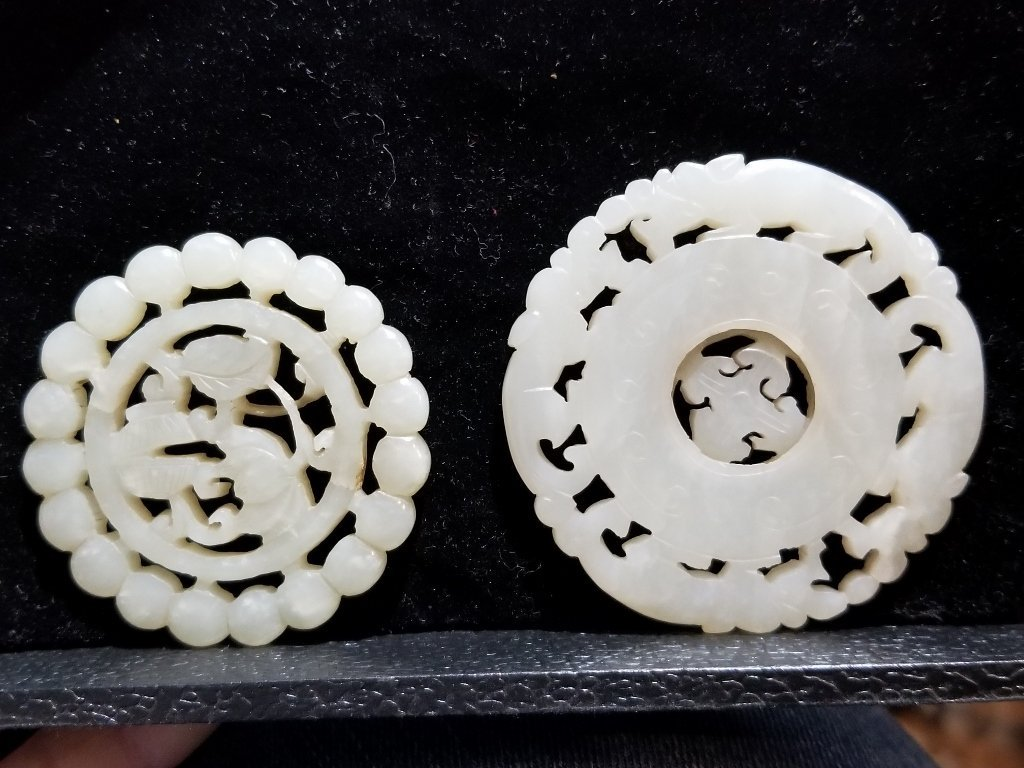 Two celadon jade pieces