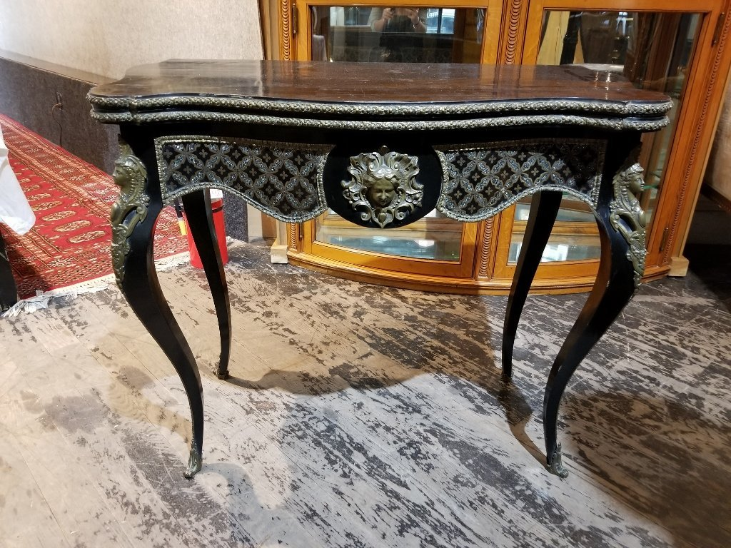 18thc style inlaid game table with ormolu, c.1900